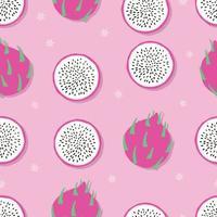 fruta de patrones sin fisuras, fruta del dragón con flores vector
