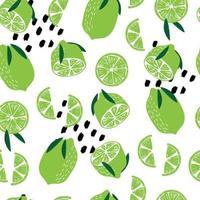 fruta de patrones sin fisuras, limas con hojas vector