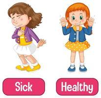adjetivos opuestos palabras con enfermo y saludable vector