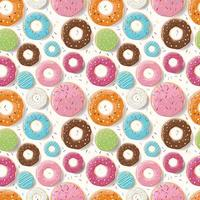 Seamless pattern with colorful glossy donuts vector