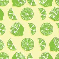 mitades de limón y rodajas sobre fondo amarillo brillante. vector