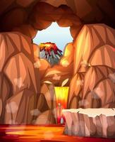 Infernal cave with lava scene
