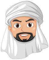 hombre adulto árabe musulmán cabeza personaje de dibujos animados vector