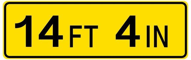 Low clearance traffic sign on white background vector