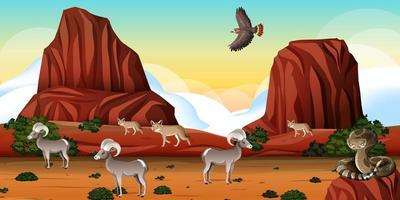 Desert with rock mountains and desert animals landscape at day scene vector