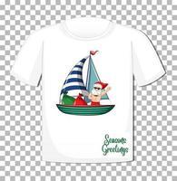 personaje de dibujos animados de santa claus en tema de verano de navidad en camiseta sobre fondo transparente