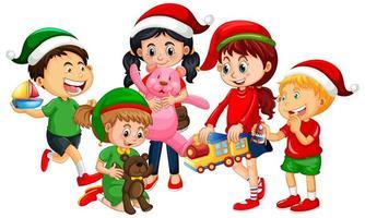 Diferentes niños vistiendo trajes en tema navideño y jugando con sus juguetes aislados sobre fondo blanco. vector