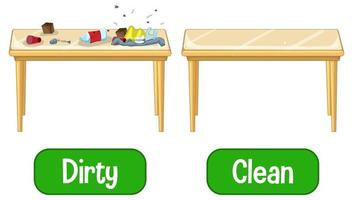 adjetivos opuestos palabras con sucio y limpio