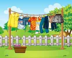 Many clothes hanging on a line outside the house scene vector