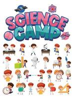 Logotipo del campamento de ciencias y conjunto de niños con objetos educativos aislados vector