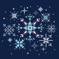 hermoso copo de nieve con color brillante vector