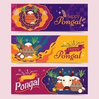 Happy Pongal Greeting Banner Set
