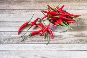 Red chili in a bowl on a wooden table