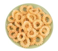 Top view of round ring snacks
