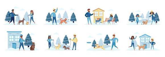 Paseadores de perros paquete de escenas con personajes de personas. vector
