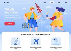 Travel vacation flat landing page