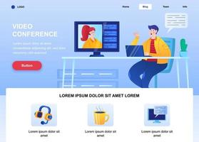 Video conference flat landing page vector