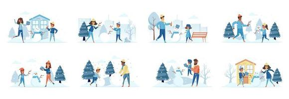 Building snowman bundle of scenes with flat people characters vector