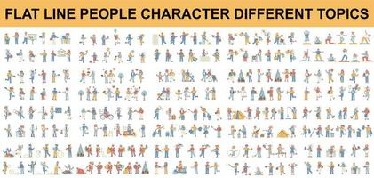 Bundle of different types of flat line people characters