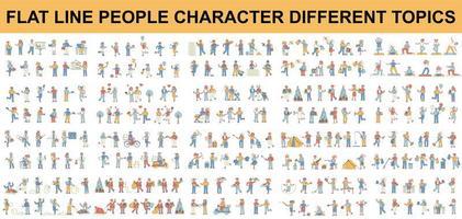 paquete de diferentes tipos de personajes de personas de línea plana. vector