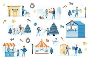 Winter festival bundle of flat scenes vector