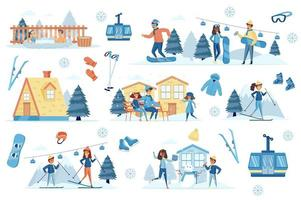 Winter resort bundle of flat scenes vector