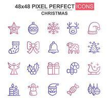 conjunto de iconos de línea fina de navidad vector