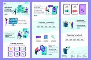 Recruiting company flat landing page vector