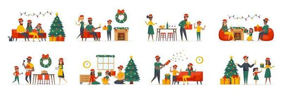 Christmas family bundle of scenes with flat people characters vector