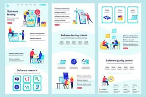 Software testing flat landing page vector