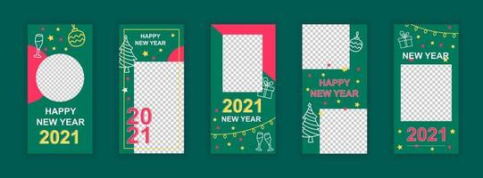 Happy new year 2021 editable social media templates