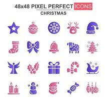 Merry Christmas glyph icon set
