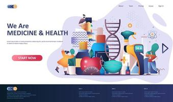 Medicine and health flat landing page template vector