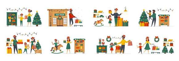 Toys store at Christmas time bundle of scenes vector