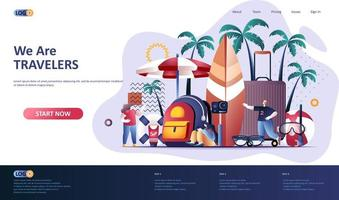 Travel vacation flat landing page template vector