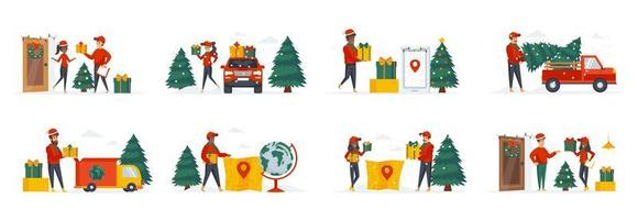 Festive delivery service bundle of scenes with people characters