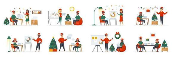 Corporate Christmas time bundle of scenes with people characters vector