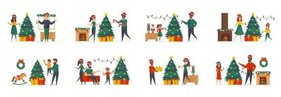 Christmas tree decoration bundle of scenes with people characters vector