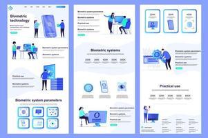 Biometric technology flat landing page vector