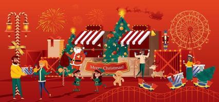 tarjeta de felicitación de la tienda de juguetes de navidad en estilo plano vector