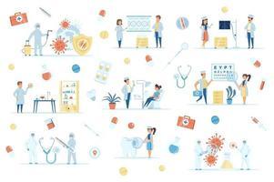 Coronavirus pandemic bundle of flat scenes vector