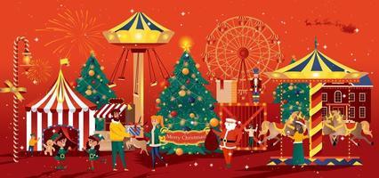 tarjeta de felicitación de la feria de navidad en estilo plano vector