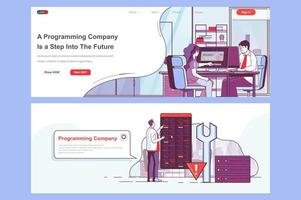 Programming company landing pages set vector