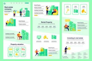 Real estate company flat landing page vector