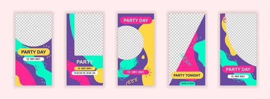 Party event editable templates set for social media stories