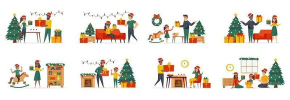 Presenting gifts bundle of scenes with flat people characters