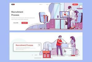 landing pages del proceso de contratación vector
