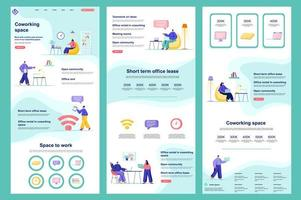Coworking space flat landing page vector