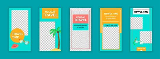 Travel vacation editable templates set for social media stories
