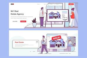 Real estate agency landing pages set vector